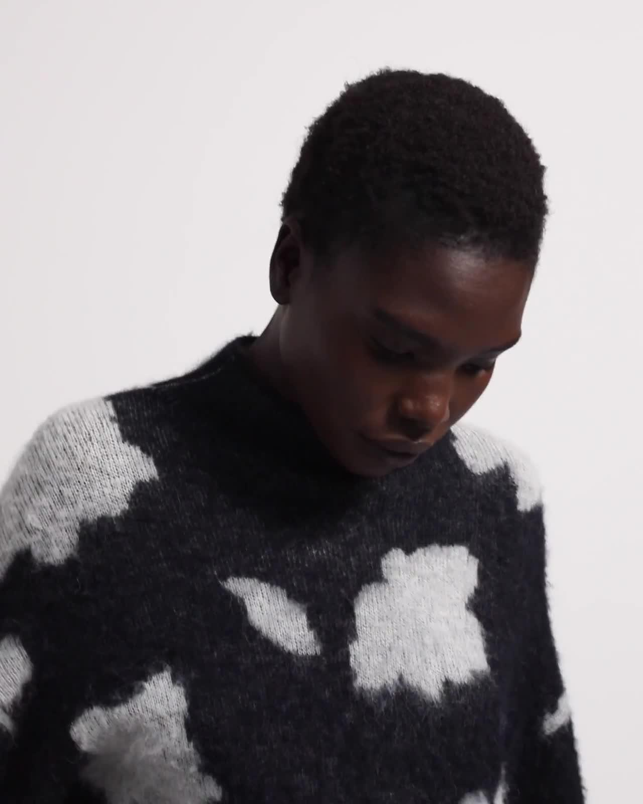 Mock Neck Sweater in Floral Alpaca Wool Jacquard