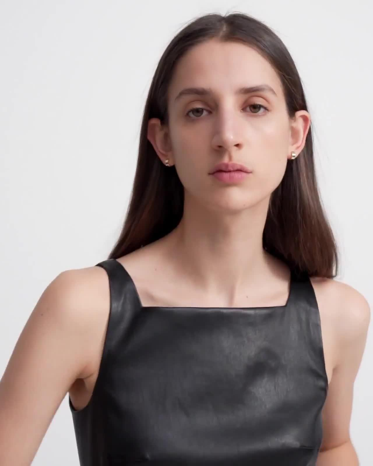 Square Neck Dress in Leather
