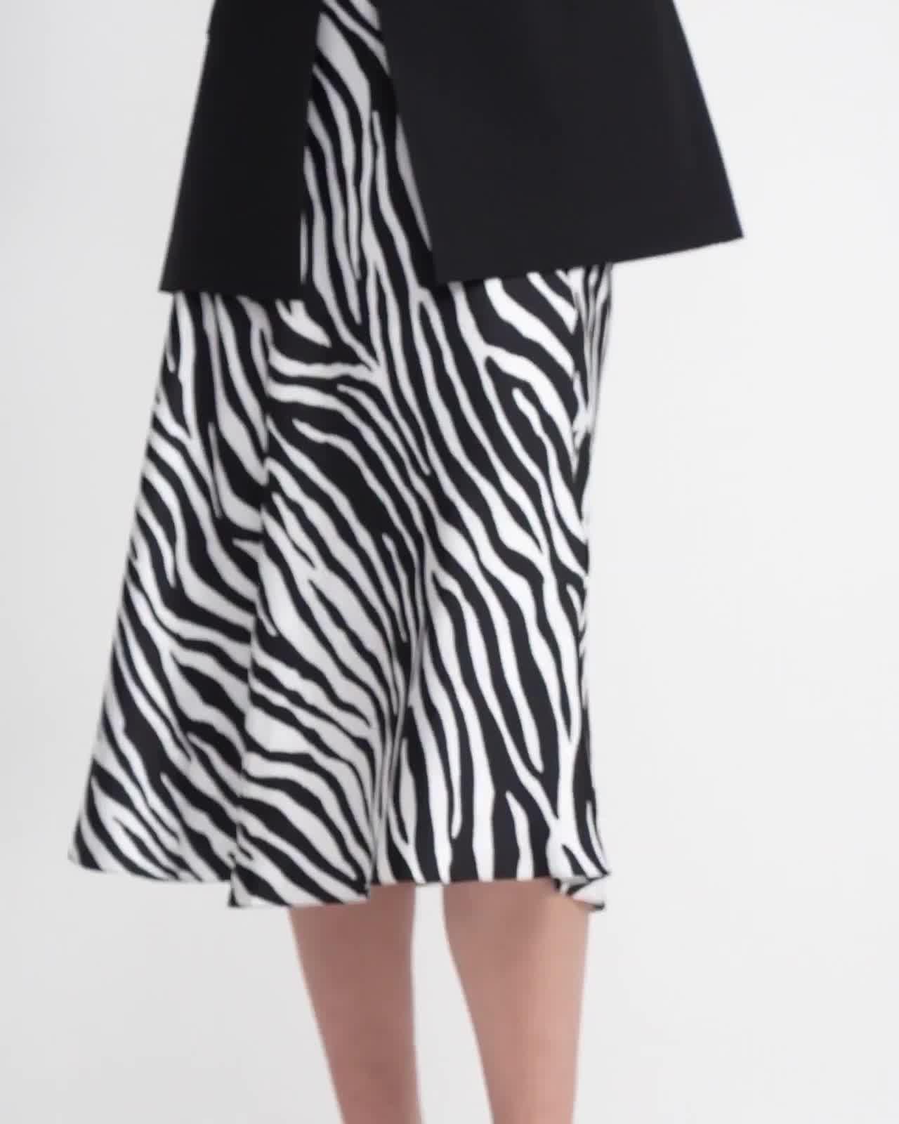 Modern Slip Skirt in Zebra Print Twill