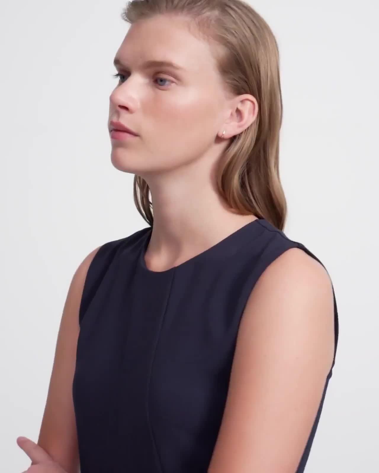 Asymmetric Drape Dress in Crepe