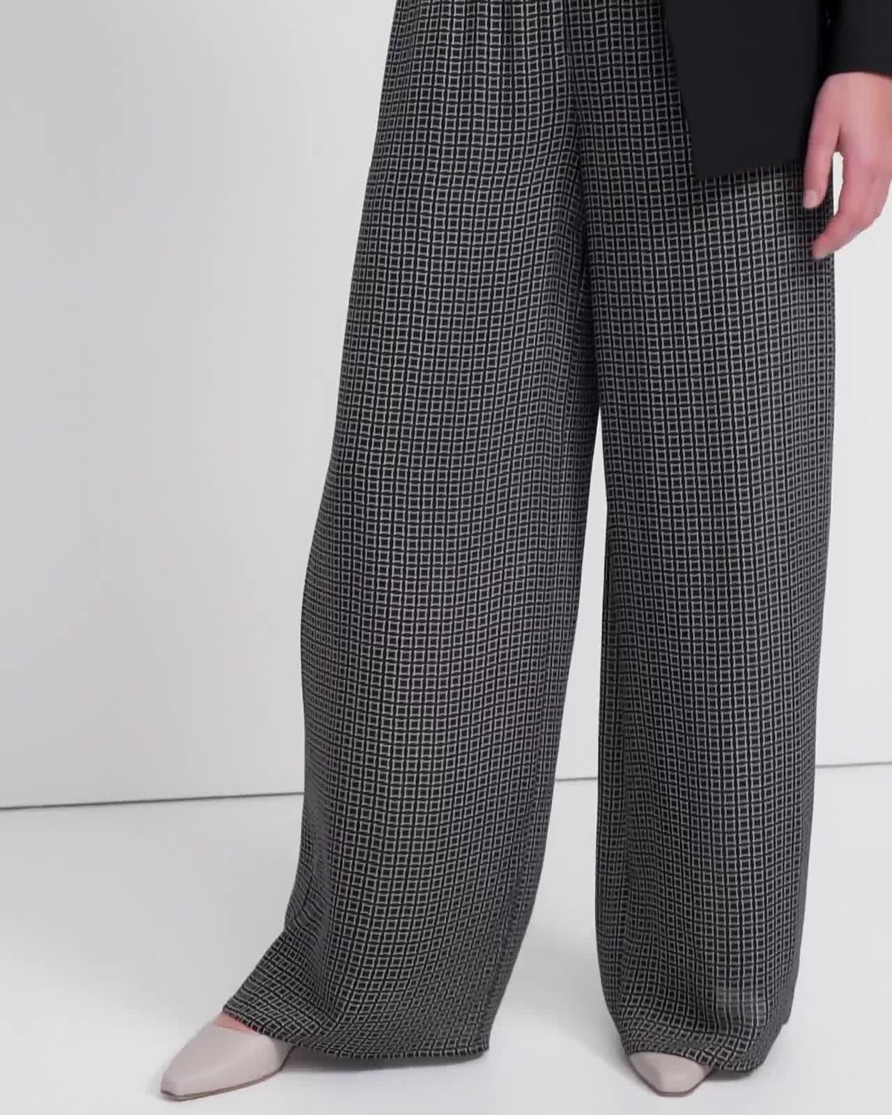 Ribbed Waist Wide Pant in Diamond Print Silk