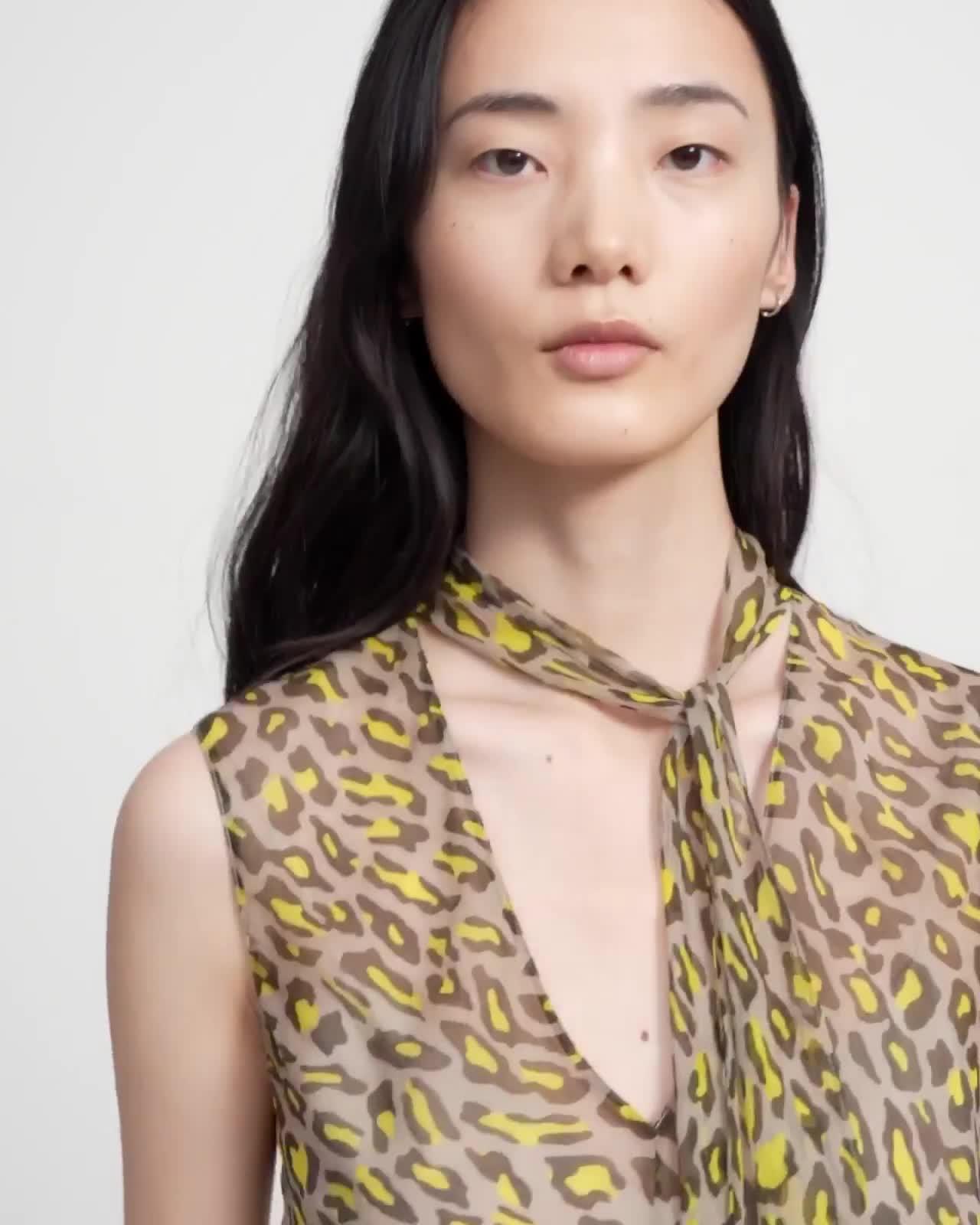 Asymmetric Midi Skirt in Leopard Silk Chiffon