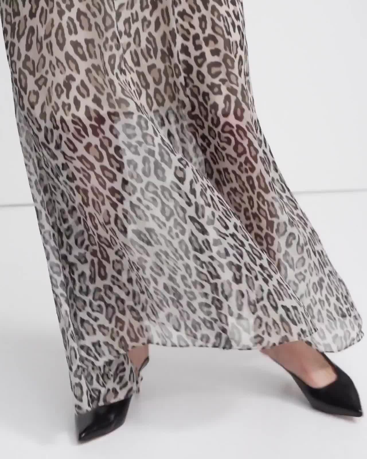 Asymmetric Cami Dress in Leopard Silk Chiffon