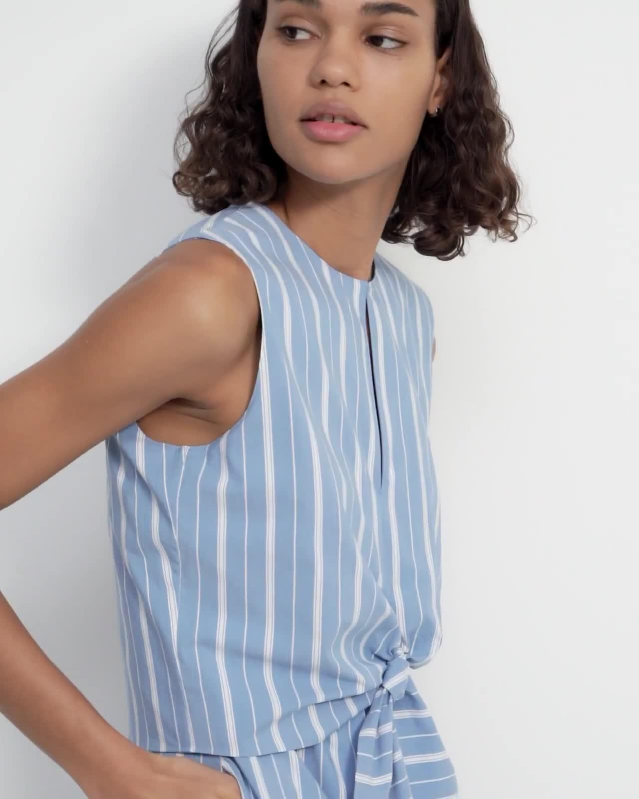 Tie Front Dress in Striped Stretch Cotton