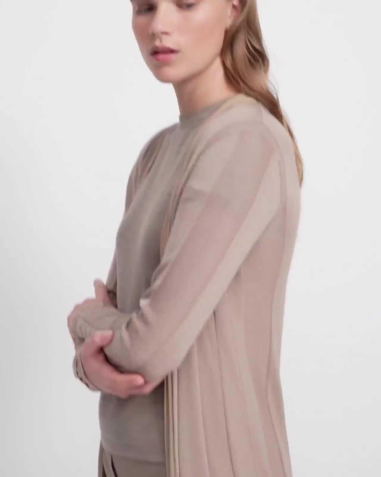 Long Cardigan in Viscose-Wool