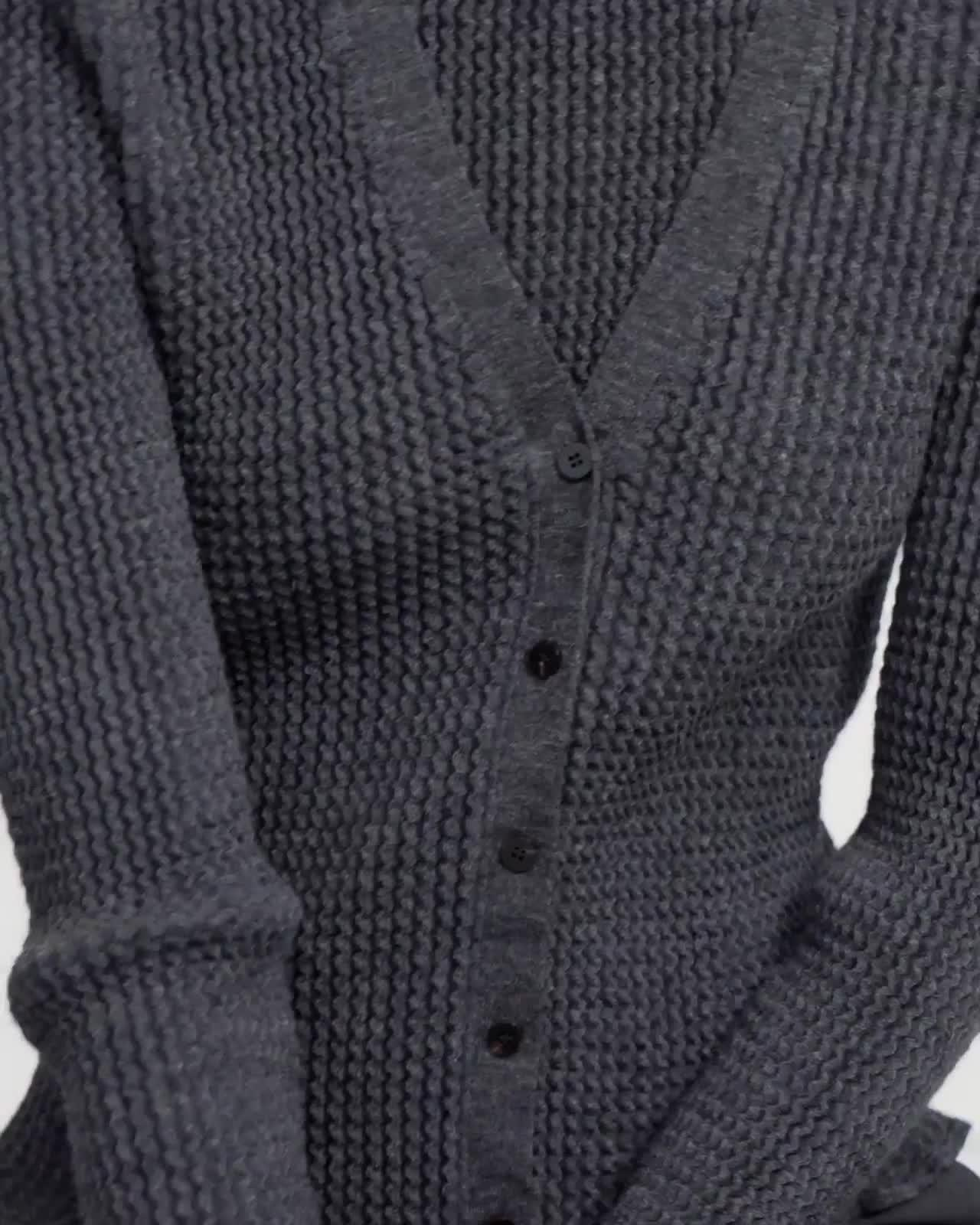 Wavy Rib Cardigan in Alpaca Wool Blend