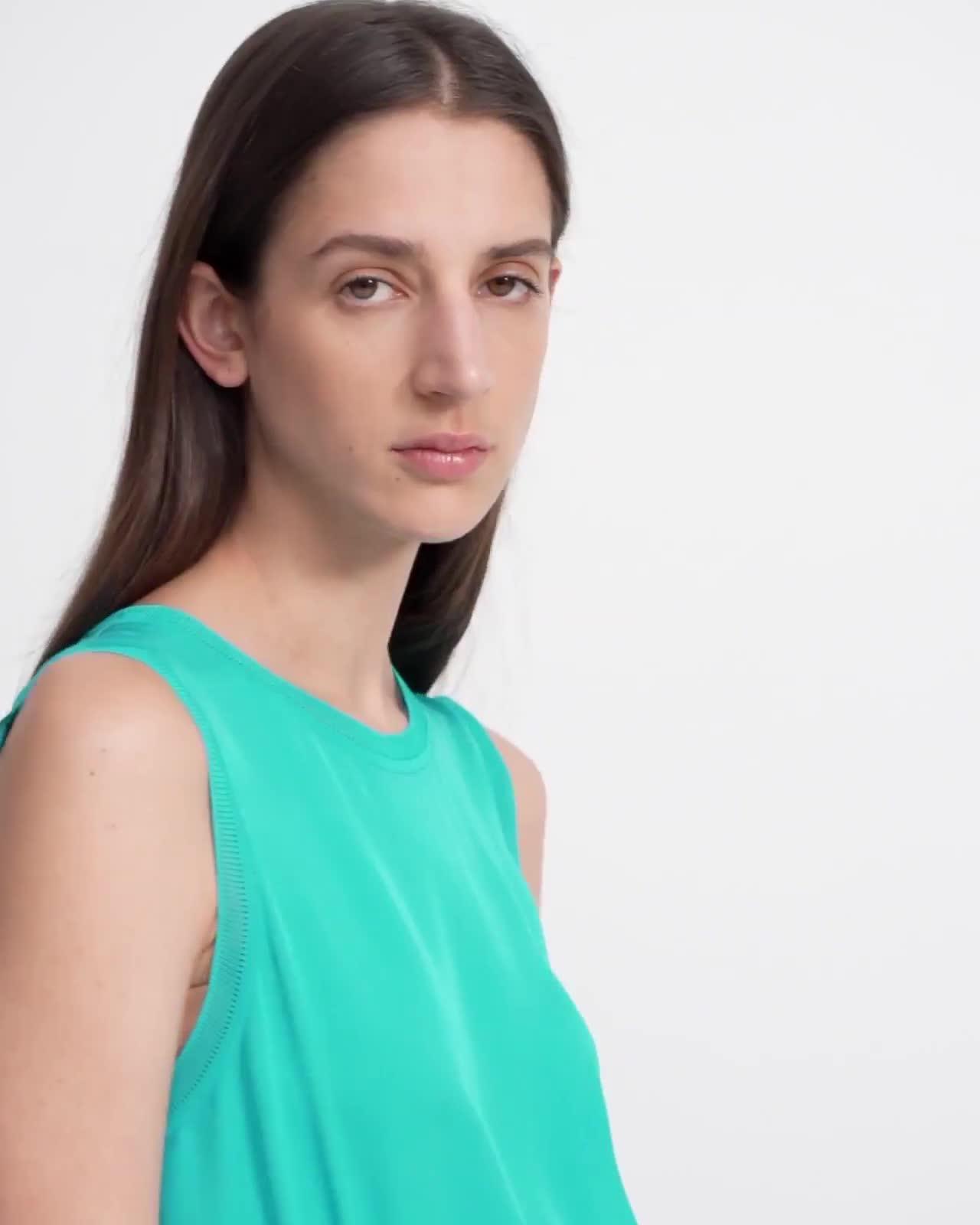 Ribbed Trim Dress in Silk Combo