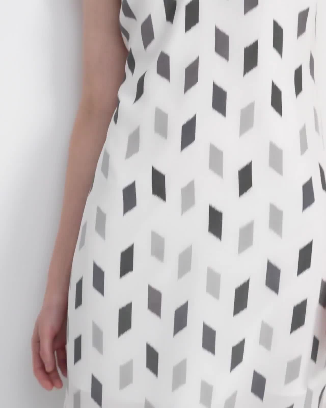 Double Strap Slip Dress in Brush Print Silk