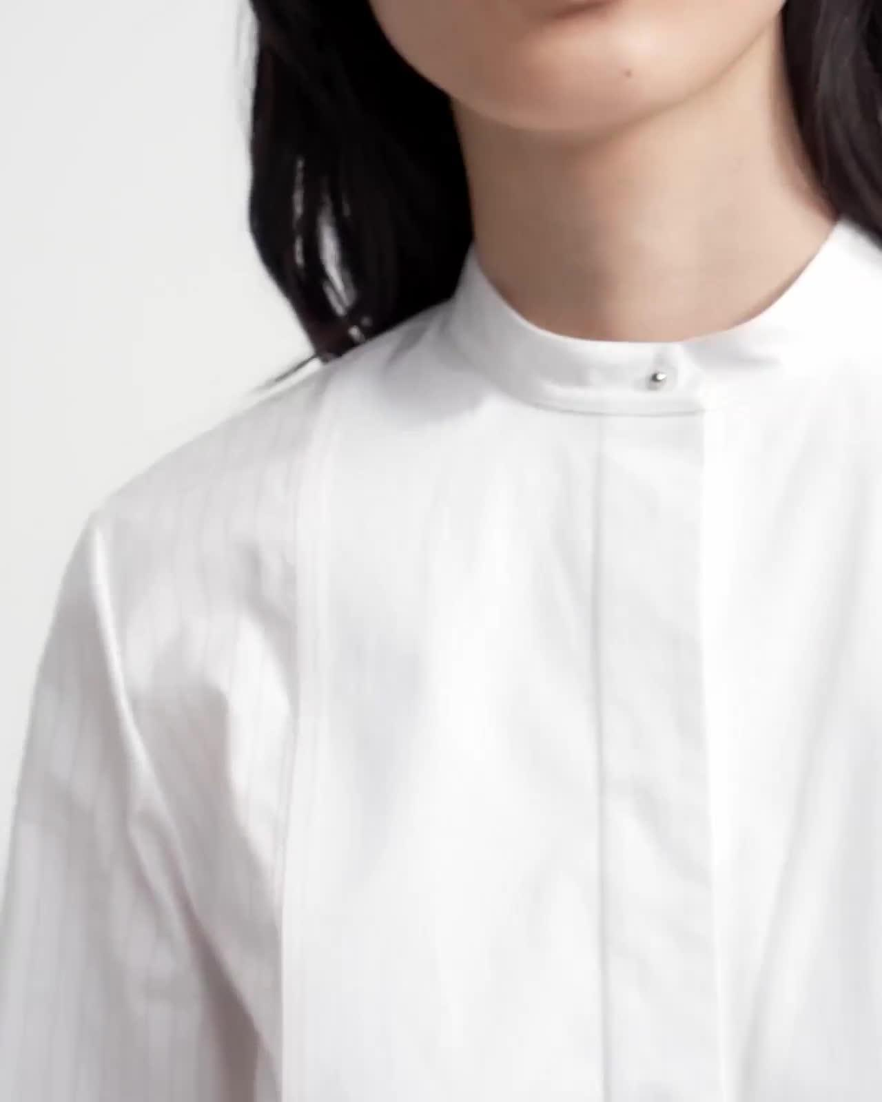Combo Bib Shirt in Sheer Pinstripe Cotton