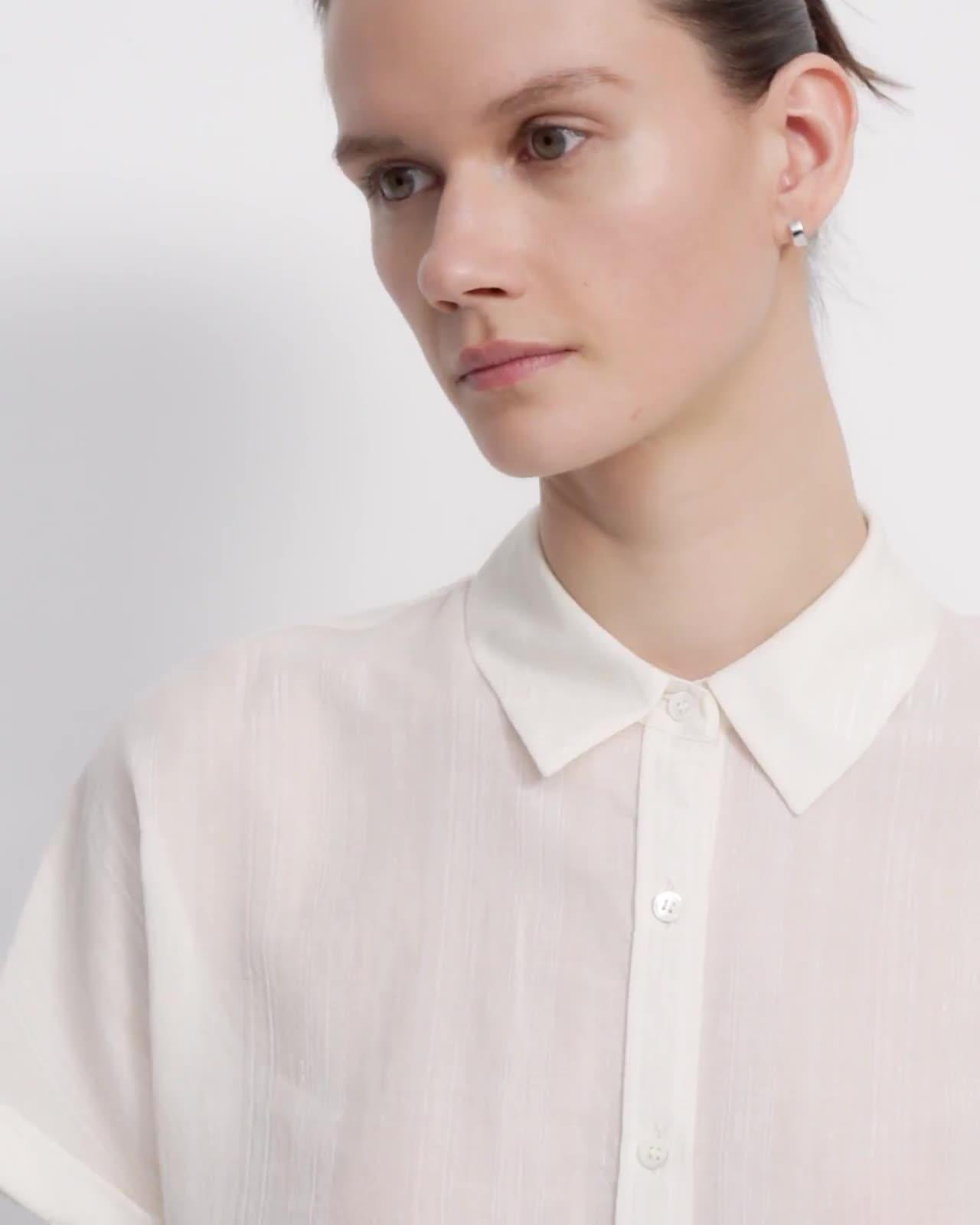 Cropped Button Up Shirt in Cotton-Viscose