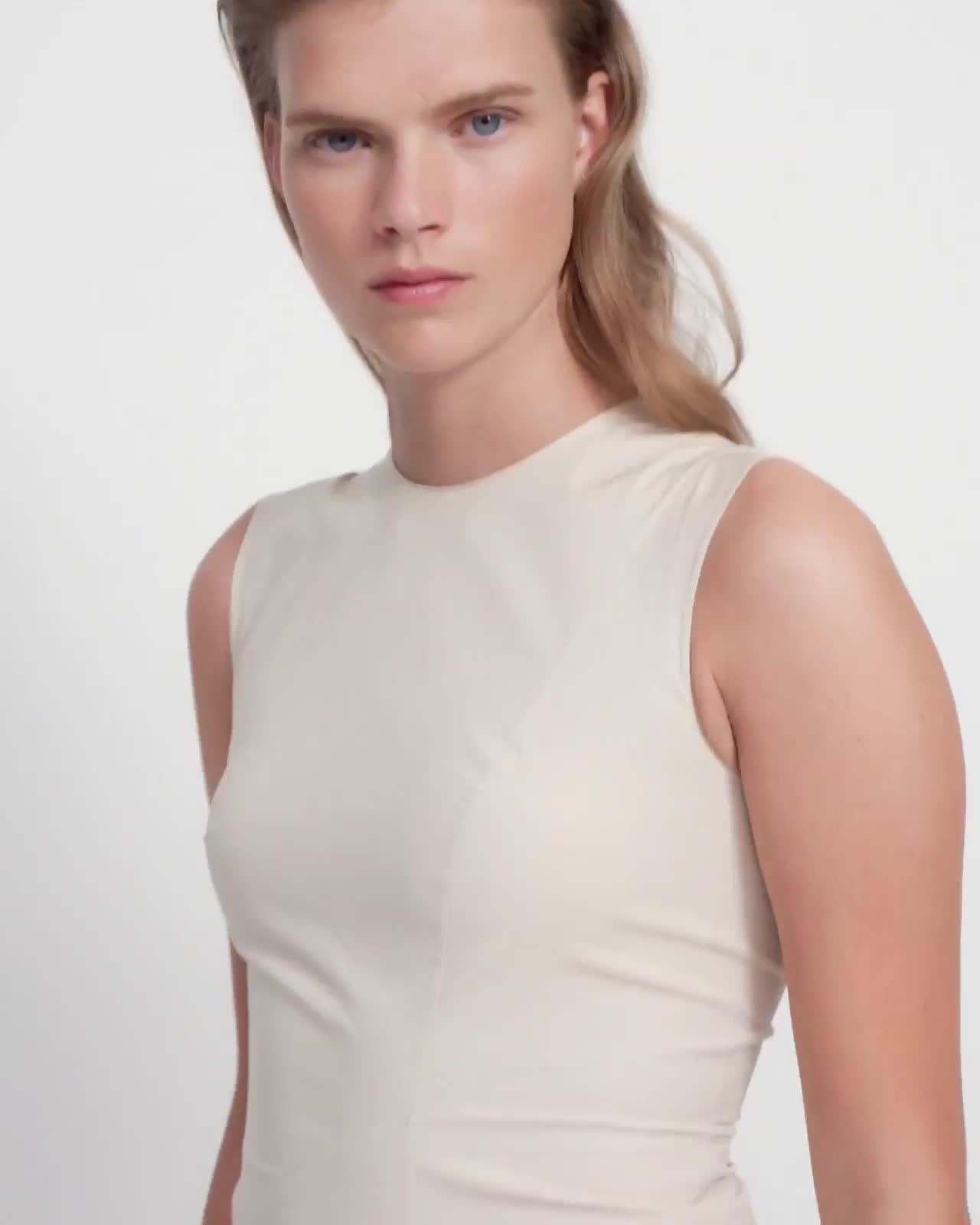 Cascade Dress in Stretch Cotton