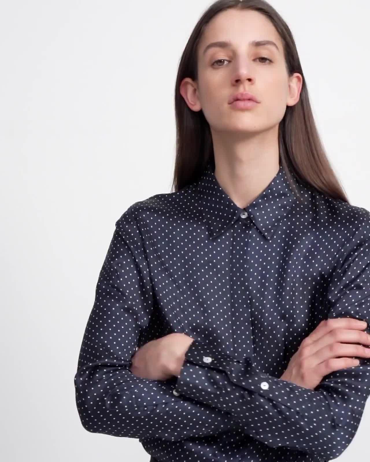 Straight Shirt in Polka Dot Cupro