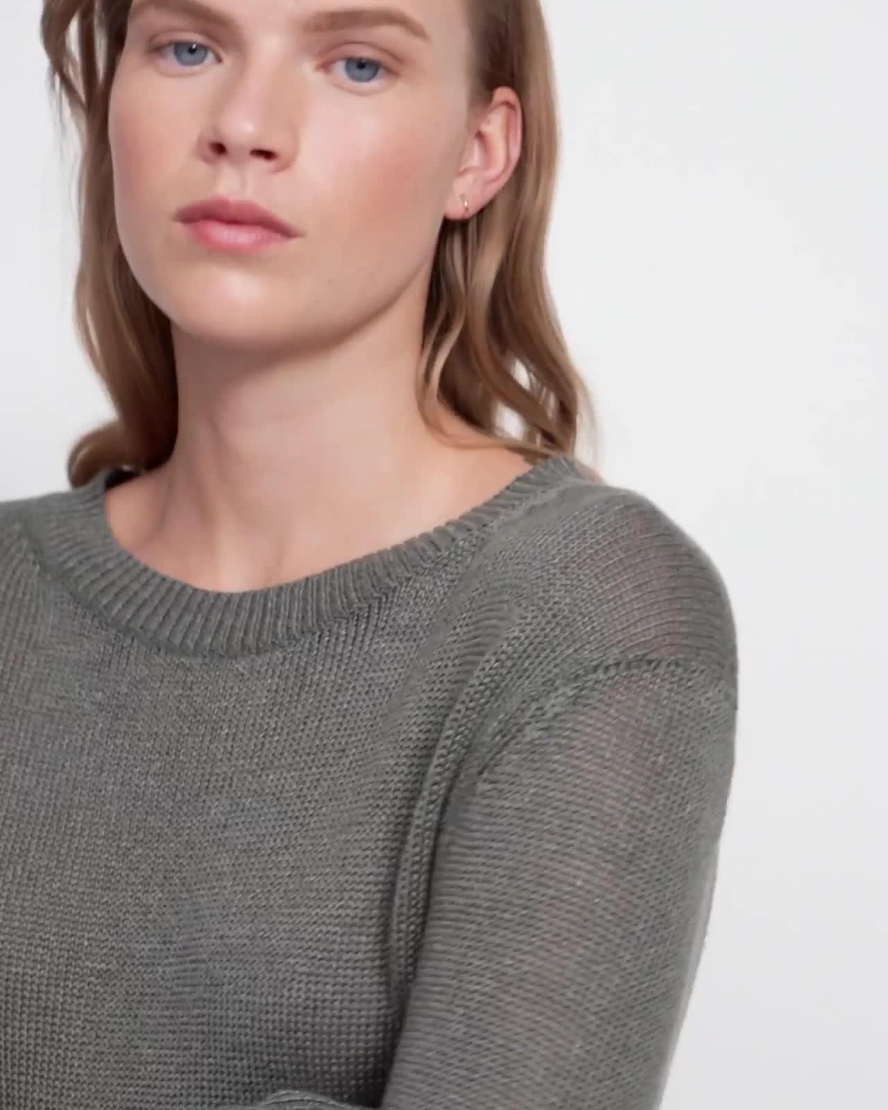Crewneck Sweater in Linen-Viscose