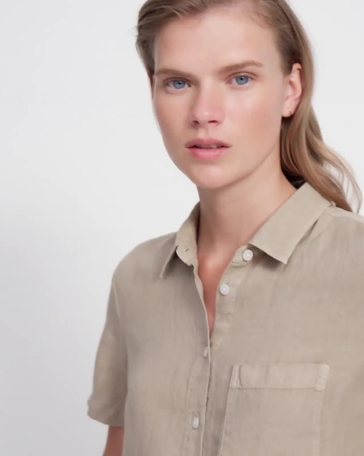 Tie Front Shirt in Spring Linen