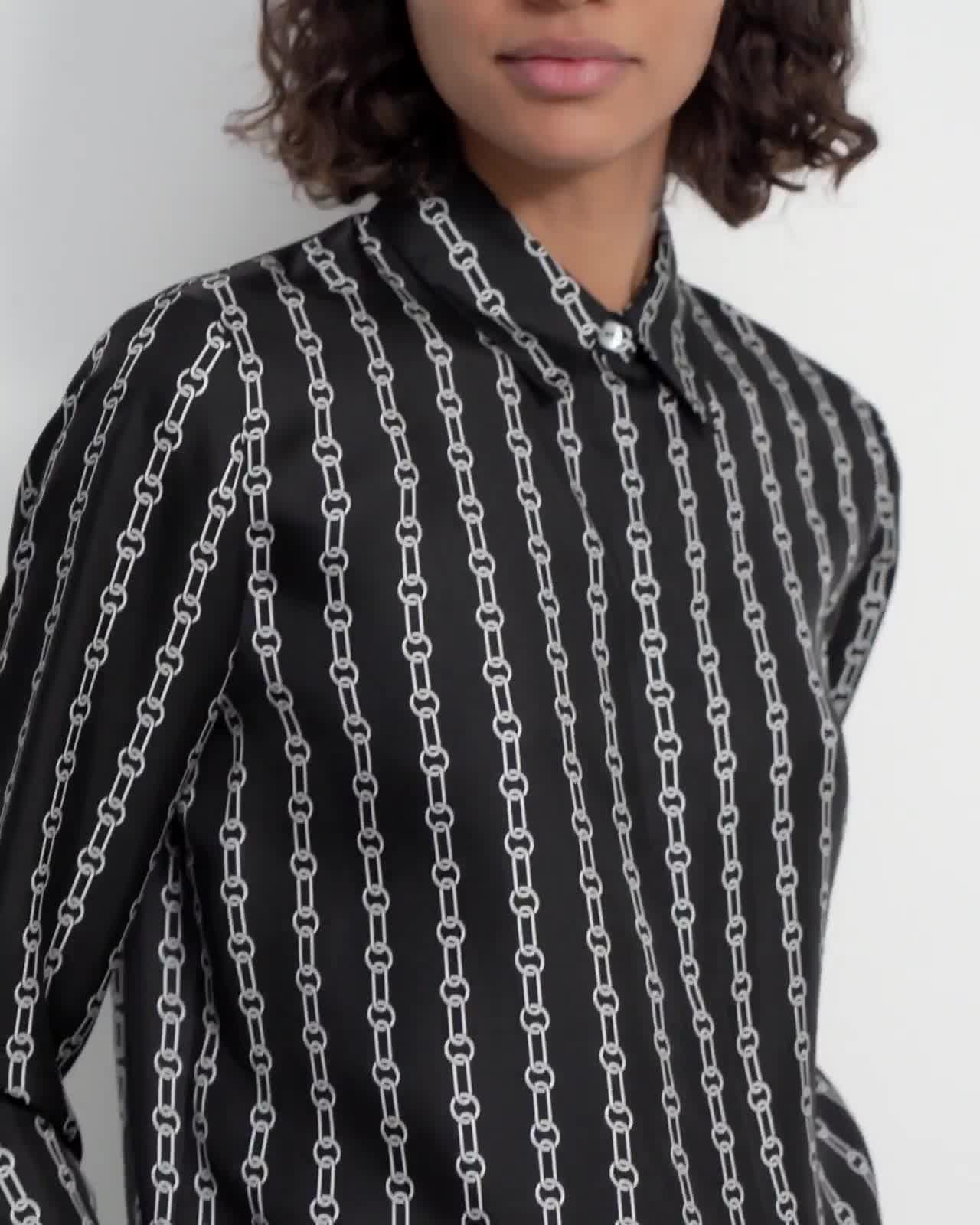 Straight Shirt in Chain Print Silk Twill