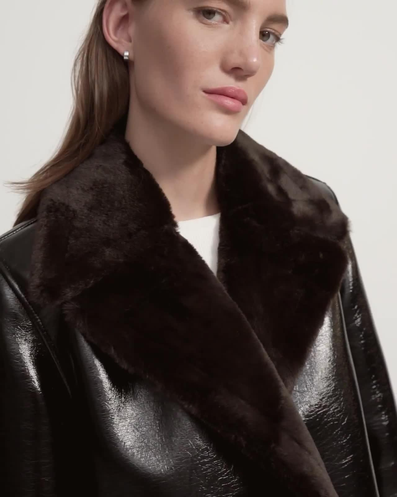 Peacoat in Bonded Faux Shearling