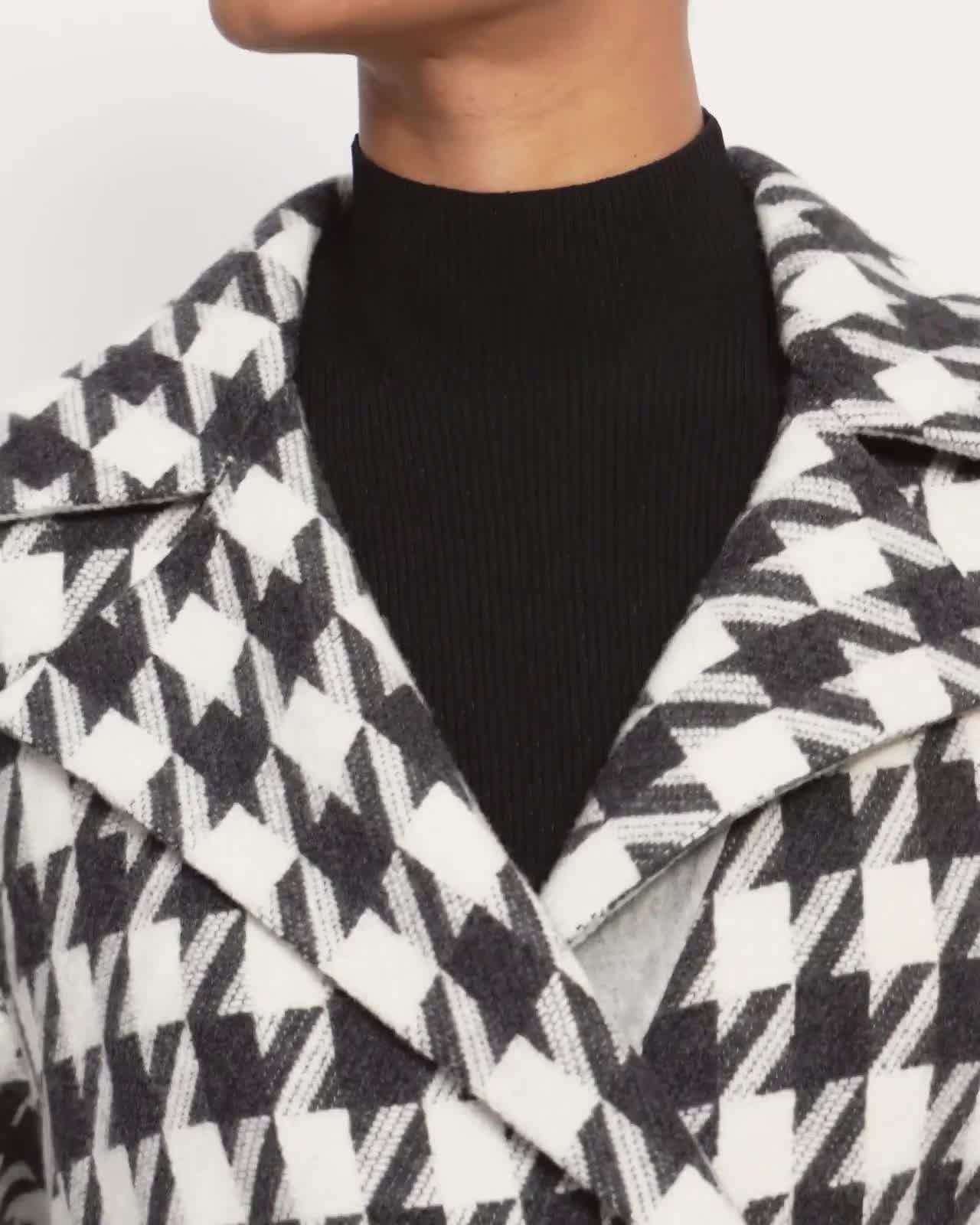 Belted Overlay Coat in Double-Face Wool