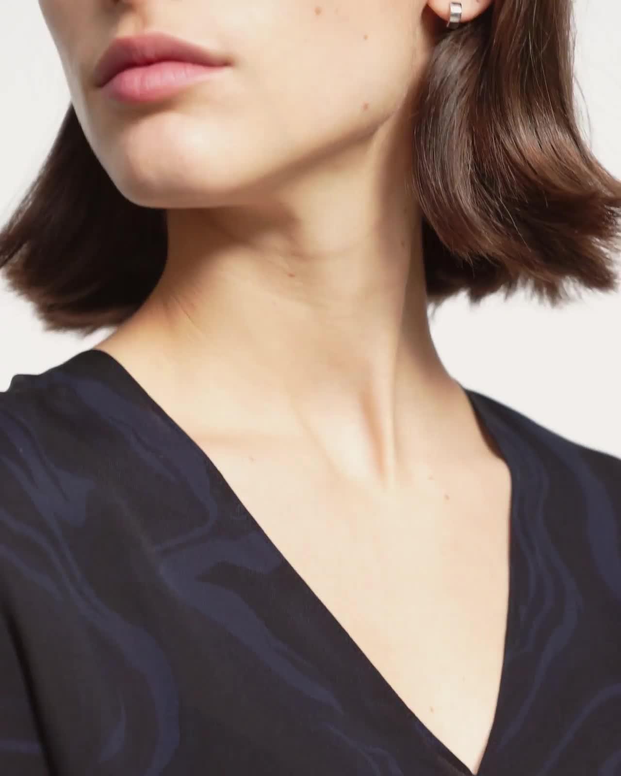 V-Neck Godet Dress in Galaxy Silk