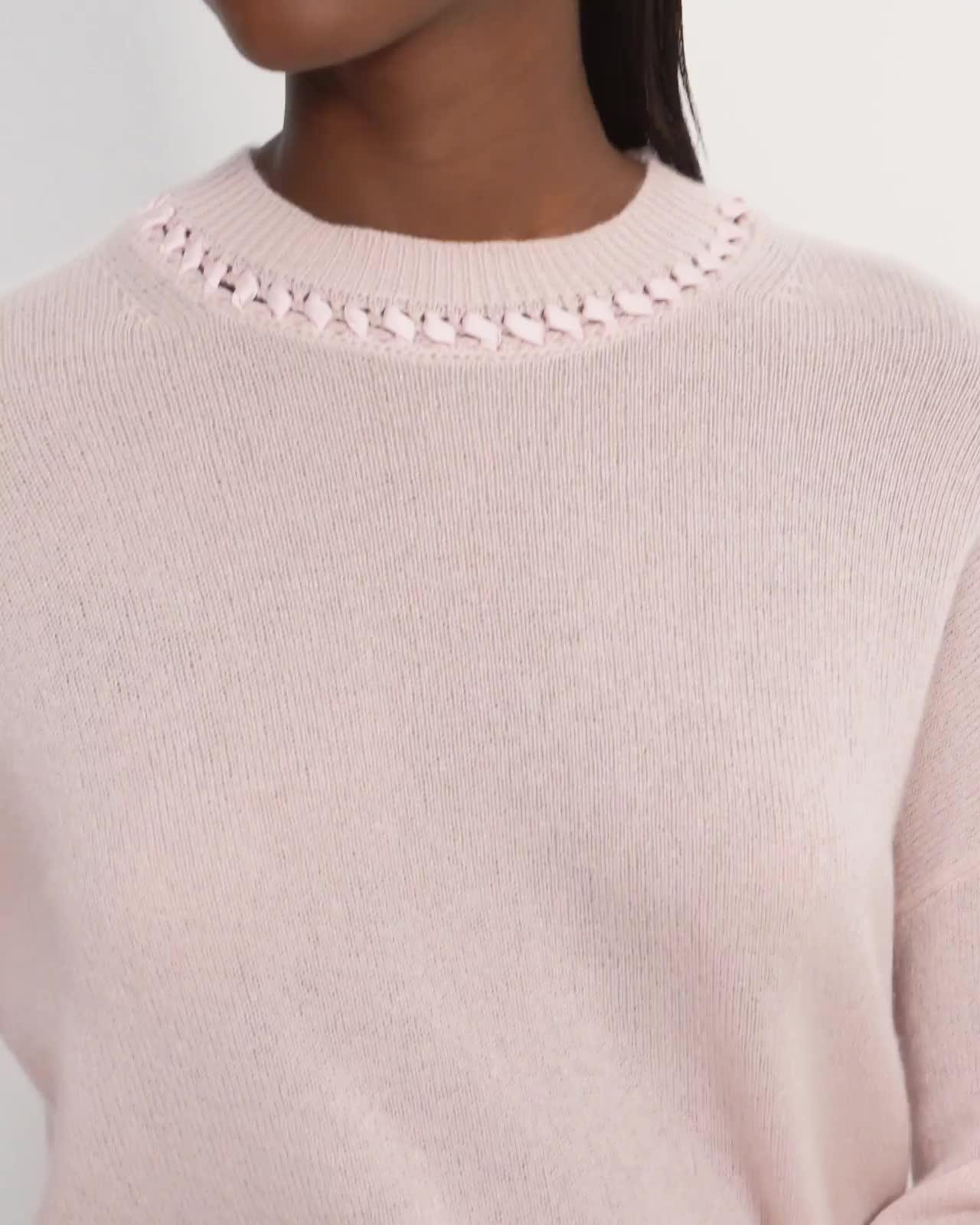 Ribbon-Trim Cropped Sweater in Cashmere