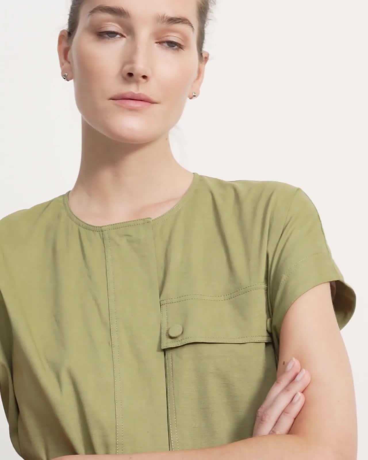 Crewneck Utility Dress in Good Linen